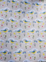 PRETTY VINTAGE STYLED 'BLUE BIRDS' PATTERNED COTTON TEA TOWEL